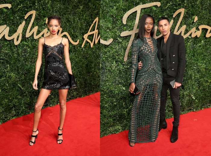 Malaika Firth in Topshop and Riley Montana in Balmain