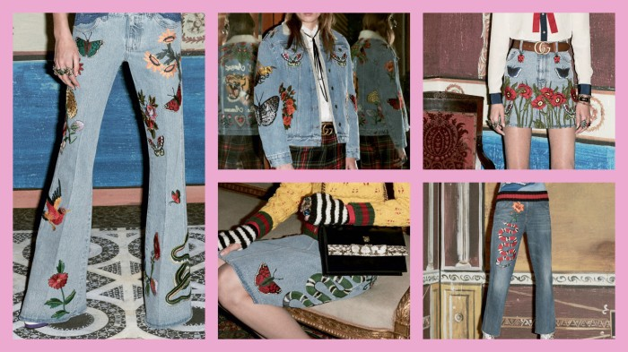 gucci decorated denim