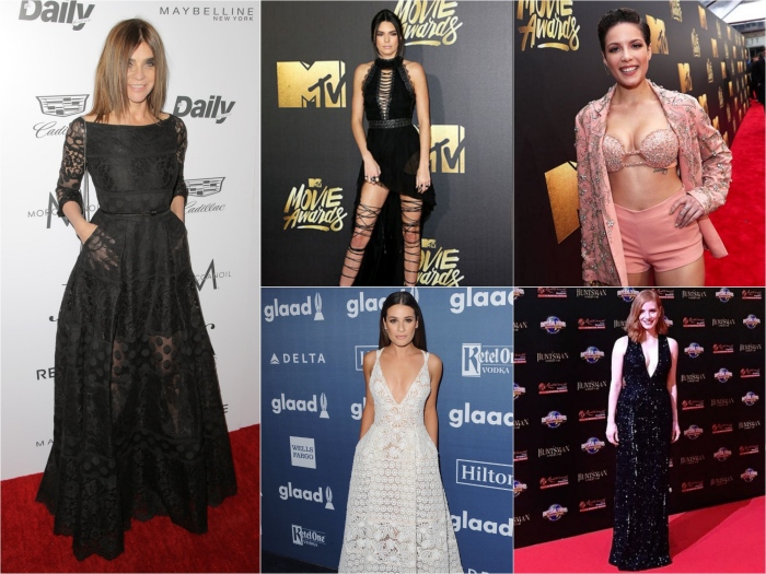 Carine Roitfeld in Elie Saab, Kendall Jenner at the MTV Movie Awards in Kristian Aadnevik with DSquared laced shoes, Halsey, Lea Michele in Elie Saab, Jessica Chastain in Elie Saab