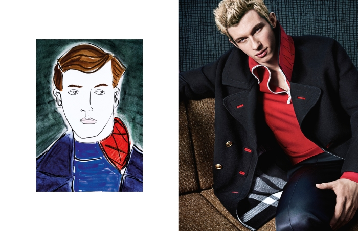 Callum Turner in a shot by Mario Testino and illustration by Edward Hall