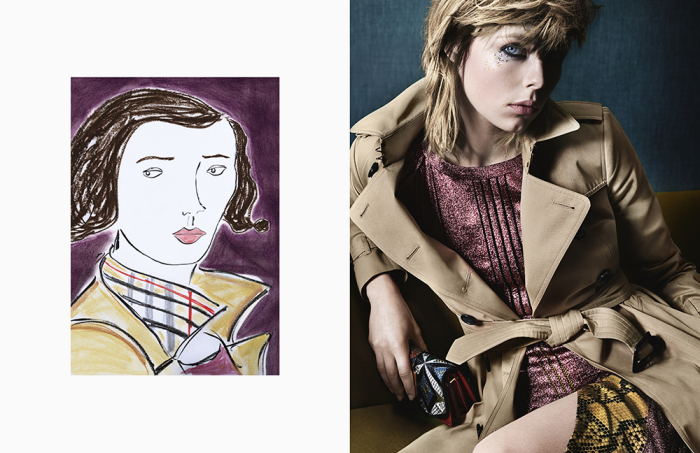 Edie Campbell in a shot by Mario Testino and illustration by Edward Hall