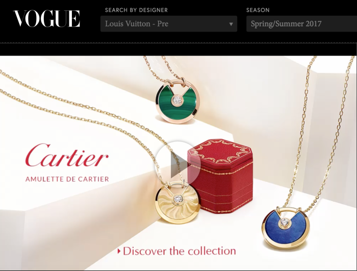Cartier digital advertising on Vogue.com