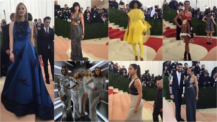 Jessica Chastain/Prada; Naomi Campbell/Versace; Solange Knowles; The Balmain crew; Selena Gomez/Louis Vuitton; Zayn Malik and Gigi Hadid
