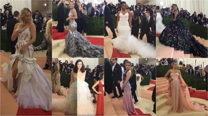 Kate Hudson/Versace; Rita Ora/Vera Wang; Jennifer Hudson/H&M; Zoe Saldana/Dolce & Gabbana; Lorde/Valentino; Emma Roberts/Tory Burch; Blake Lively/Burberry