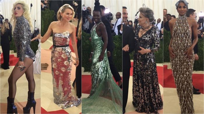 Lady Gaga/Versace; Naomi Watts/Burberry; Lupita Nyong'o/Calvin Klein; Beåtte Midler/Marc Jacobs; Ciara/H&M