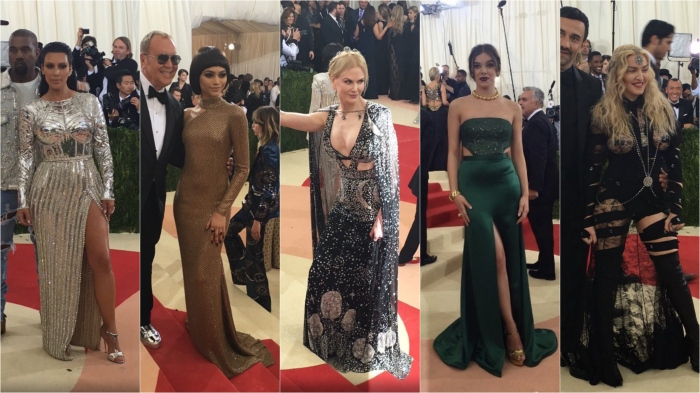 Kim Kardashian West/Balmain; Zendaya/Michael Kors; Nicole Kidman/Alexander McQueen; Hailee Steinfeld/H&M; Madonna/Givenchy