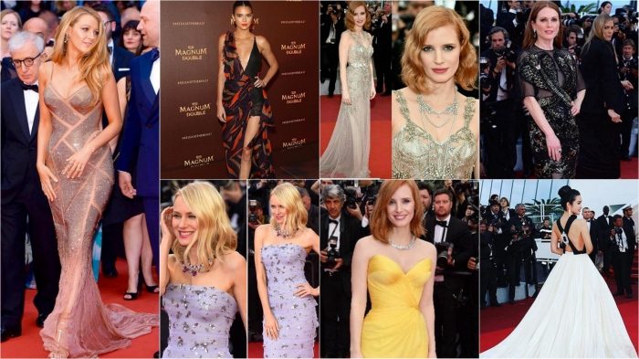 Cannes Film Festival 2016: Blake Lively in Atlerier Versace, Kendall Jenner in SS16 Versace, Jessica Chastain in Alexander McQueen, Julianne Moore in Givenchy, Naomi Watts in Armani Privé, Li Bing Bing