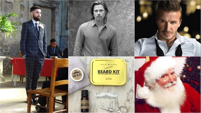 Tattoo artist Jack Goks (https://www.cloakanddaggerlondon.co.uk/tattoo-artists/jack-goks/), Brad Pitt for Chanel, David Beckham, Santa Claus, Notonthehighstreet beard grooming kit