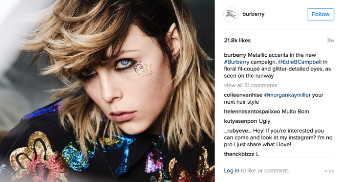 Edie Campbell, Burberry influencer
