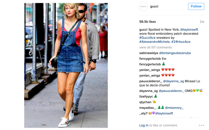 Taylor Swift, Gucci influencer