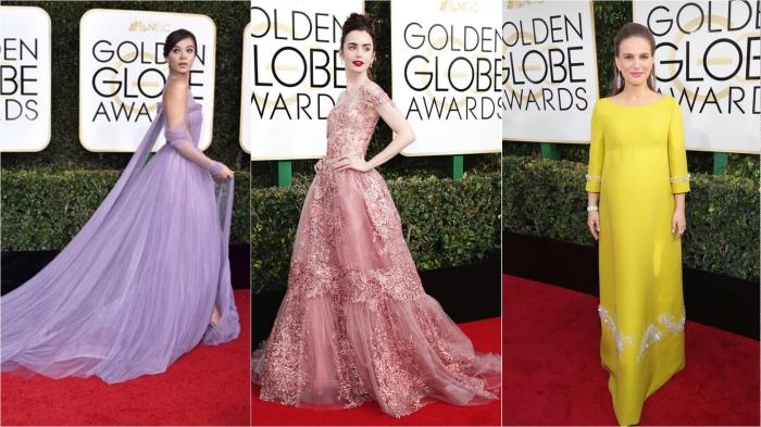 Hailee Steinfeld in Vera Wang, Lily Collins in Zuhair Murad, Natalie Portman in Prada