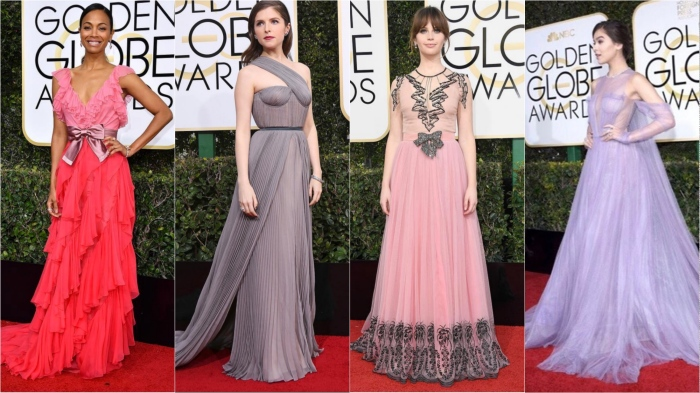 Zoe Saldana in Gucci, Anna Kendrick in Vionnet, Felicity Jones in Gucci, Hailee Steinfeld in Vera Wang