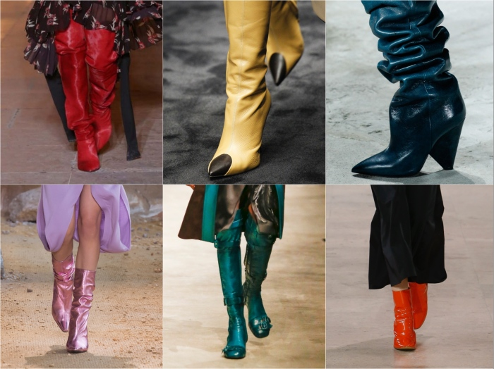 Colour l to r: Isabel Marant, Loewe , Saint Laurent, Lacoste, Prada, Ellery AW17